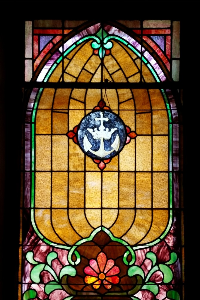 Stained glass window in sanctuary of Zion UMC